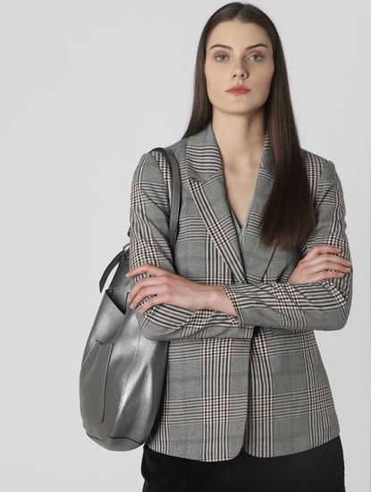 Grey Check Single Button Blazer