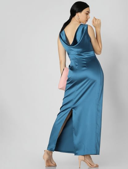 Blue Cowl Back Maxi Dress