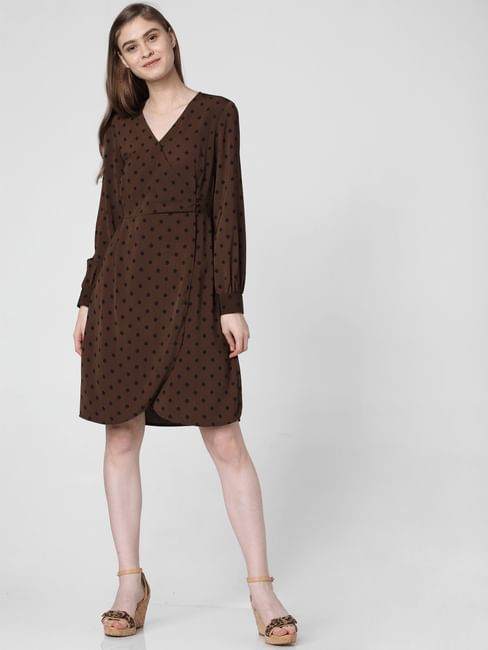 Brown Polka Dot Wrap Dress