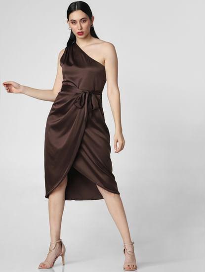 Dark Brown Satin One Shoulder Dress