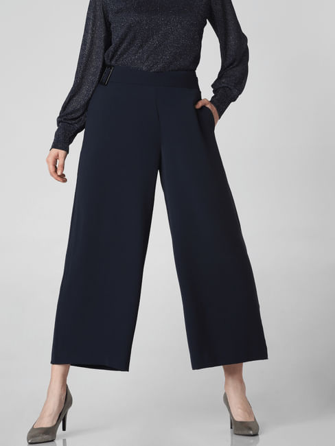 Navy Blue Mid Rise Belted Culottes