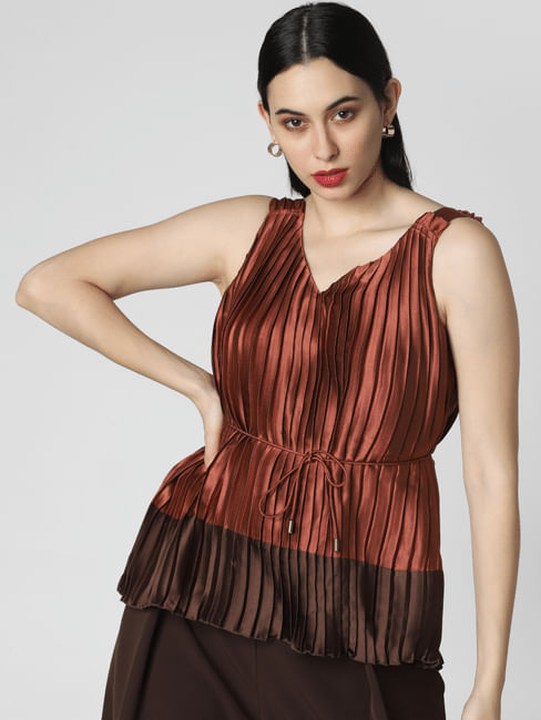 Brown Pleated Colourblocked Top