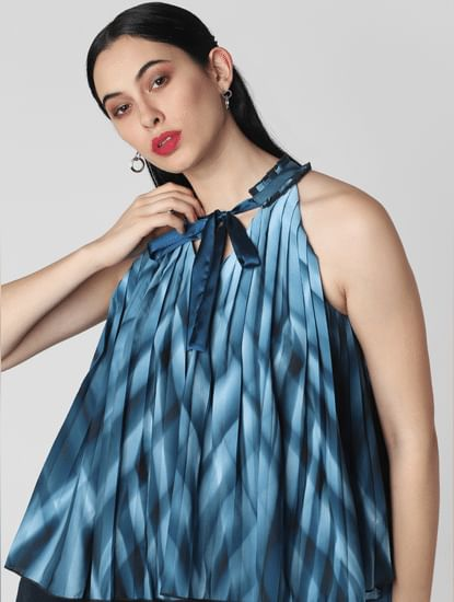 Blue Printed Pleated Top