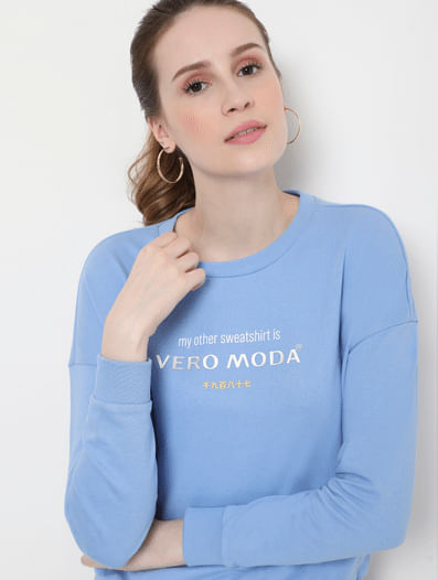 Blue Logo Print Sweatshirt