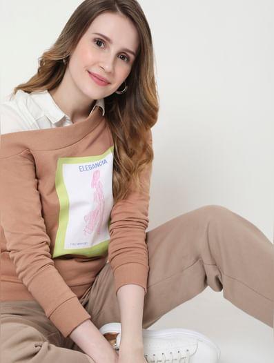 Dusty Pink One Shoulder Graphic Print Sweatshirt