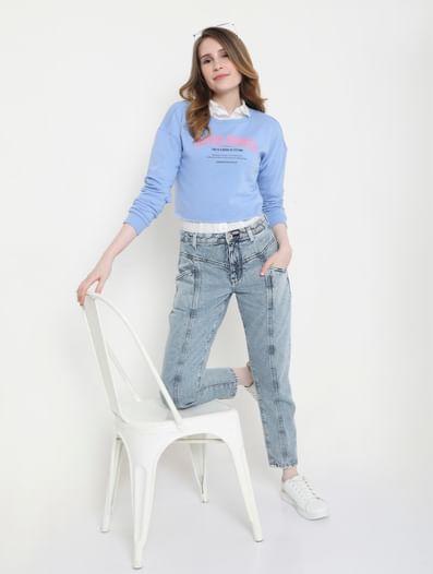 Blue Slogan Print Cropped Sweatshirt