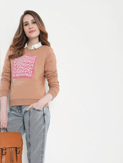 Beige Graphic Print Sweatshirt