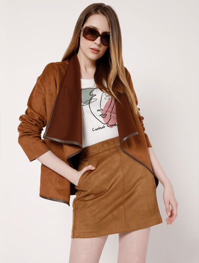 Brown Faux Suede Mini Skirt