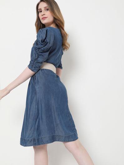 Blue Puff Sleeves Shift Dress
