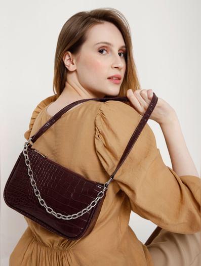 Maroon Animal Print Texture Shoulder Bag