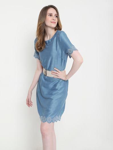 Blue Schiffli Embroidered Shift Dress
