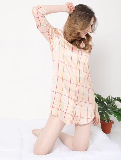 Beige Check Nightwear Dress