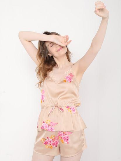 Beige Floral Cami Top & Shorts Nightsuit Set