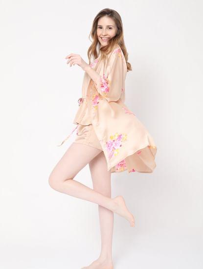 Beige Floral Nightwear Kimono
