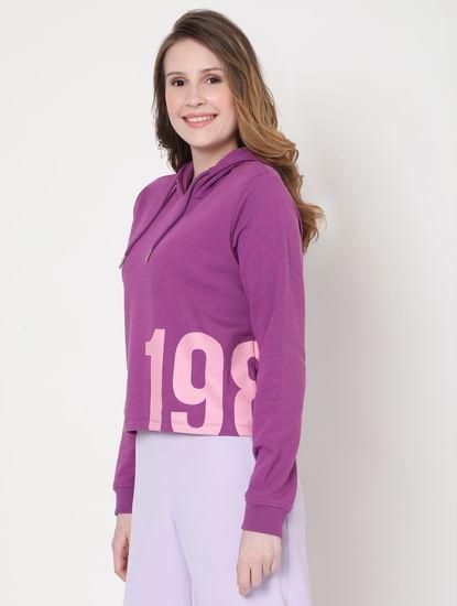 Purple Cropped Hooded Sweatshirt