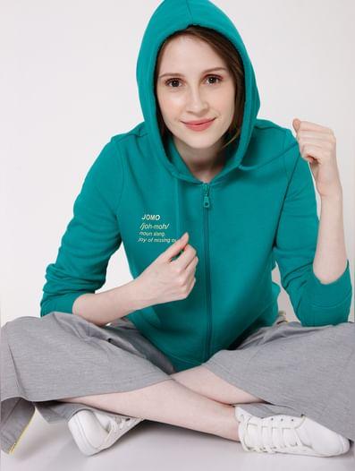 Teal Green Text Print Hooded Sweatshirt