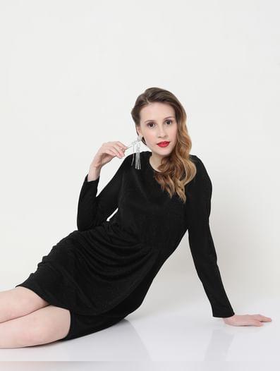 Black Shimmer Fit & Flare  Dress