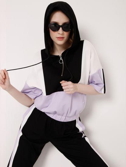Black Colourblocked Co-ord Sweatshirt
