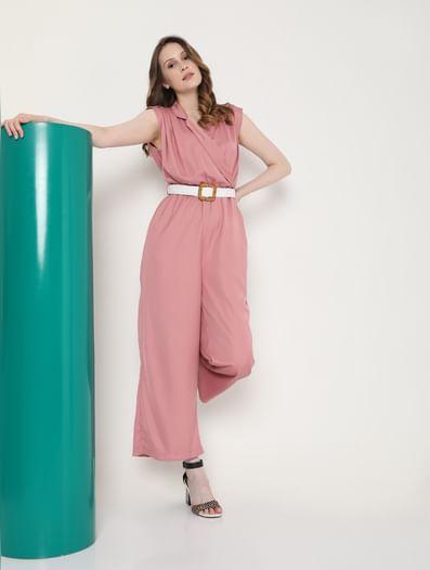 Blush Pink Belted Jumpsuit