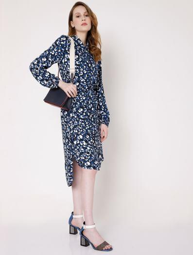 Blue Abstract Print Shirt Dress