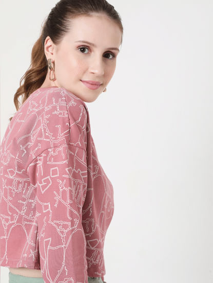 Pink Abstract Print Cropped Sweatshirt