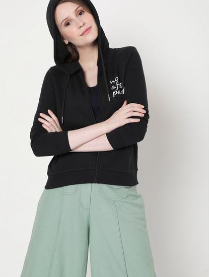 Black Slogan Print Sweatshirt