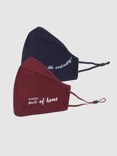 Pack of 2 3PLY Quote Print Knit Anti-Bacterial Mask - Burgundy & Blue