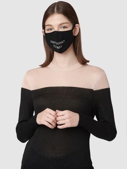 Pack of 2 3PLY Jacquard Knit Anti-Bacterial Mask - Black & Grey