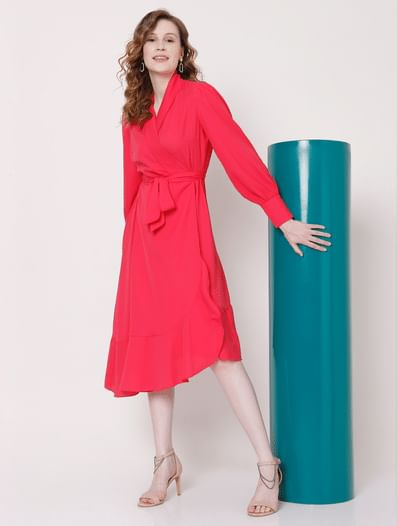 Pink Belted Wrap Dress