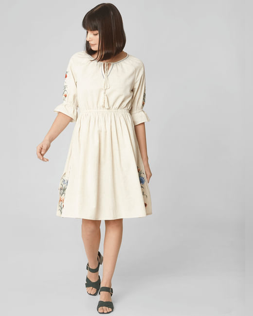 Beige Embroidered Fit & Flare Dress