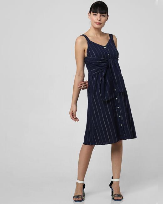 Blue Striped Tie-Up Detail Dress
