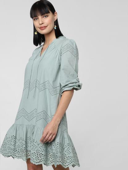 Green Schiffli Shift Dress