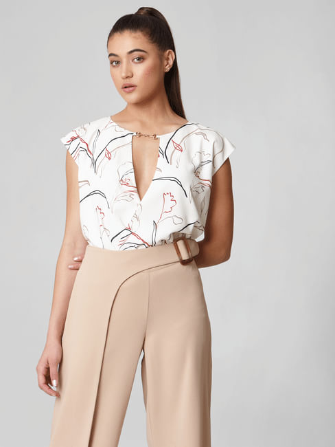 White All Over Print Bodysuit