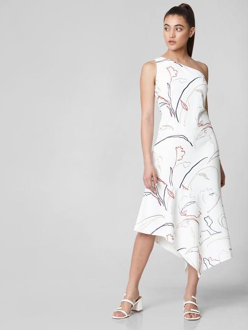 White All Over Print Asymmetric Midi Dress