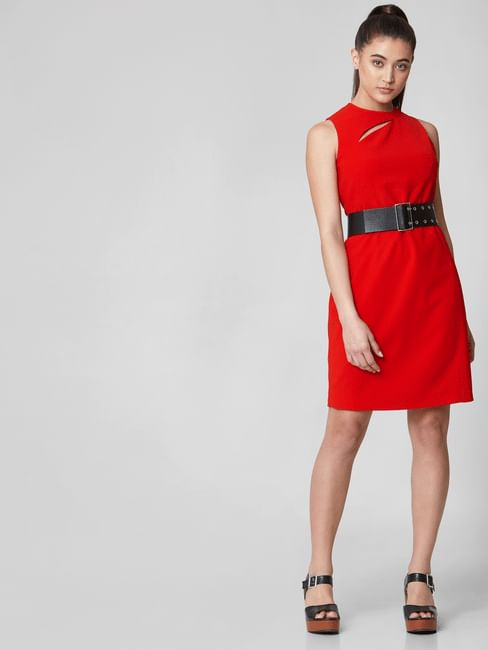 Red Cut Out Detail Shift Dress