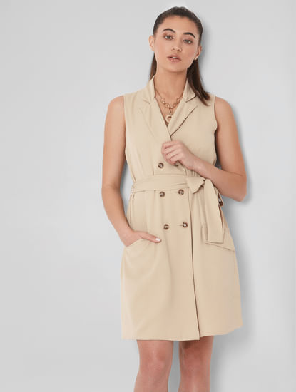 Beige Blazer Dress