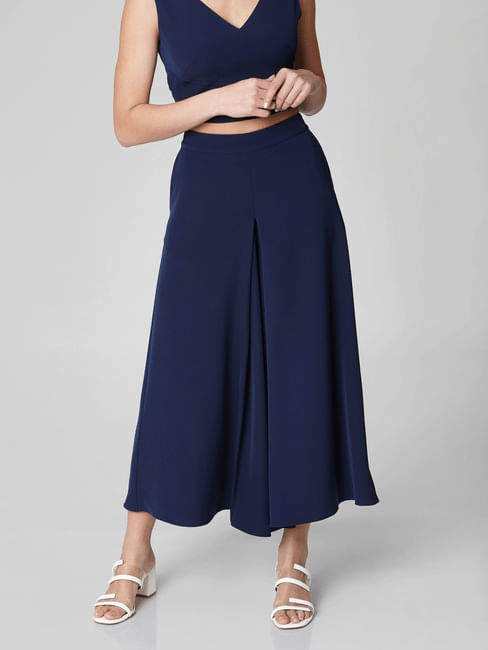 Navy Blue High Waist Flared Pants