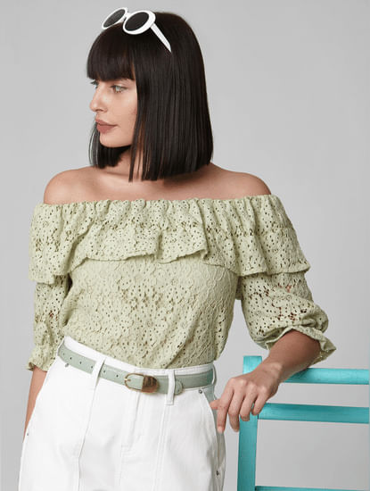 Green Lace Off-Shoulder Top