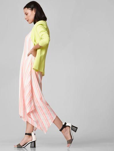 White Striped Asymmetric Hem Midi Dress