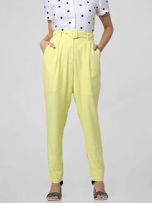 Yellow High Rise Belted Pants