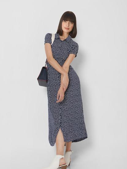 Navy Blue All Over Print Midi Dress