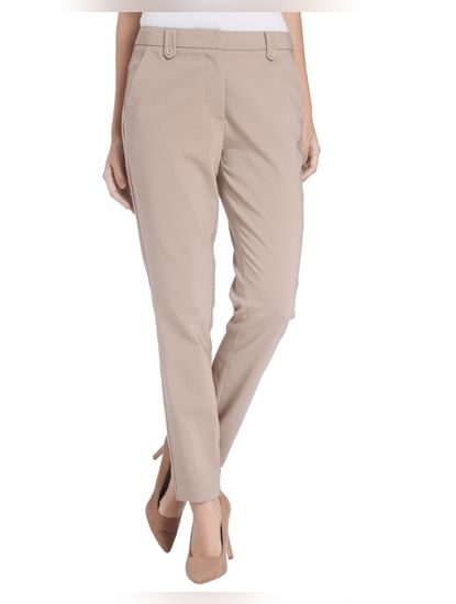Beige Ankle Length Pants