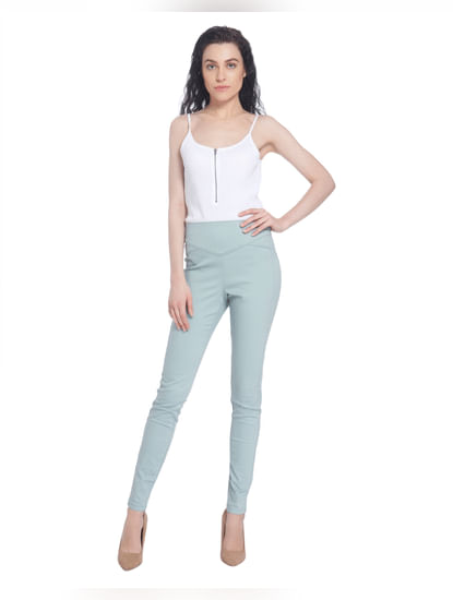 Blue High Waist Slim Pants