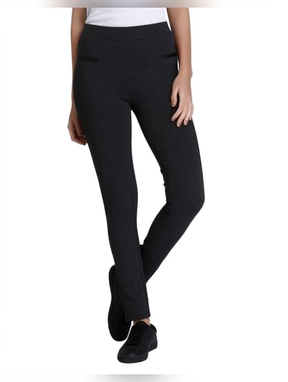 Dark Grey Mid Waist Slim Leggings