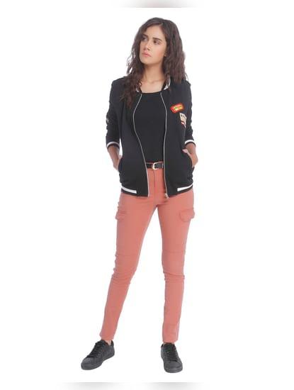 Brown Cargo Pants With Zip Detail