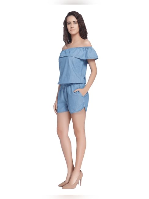 Off Shoulder Blue Chambray Playsuit