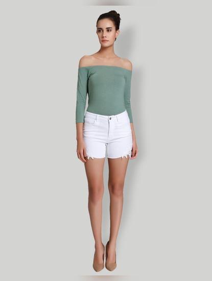 White Mid Rise Slim Fit Crochet Detail Shorts