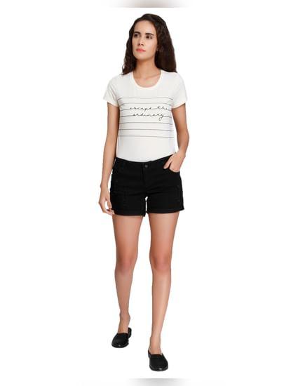 Black Distressed Denim Shorts