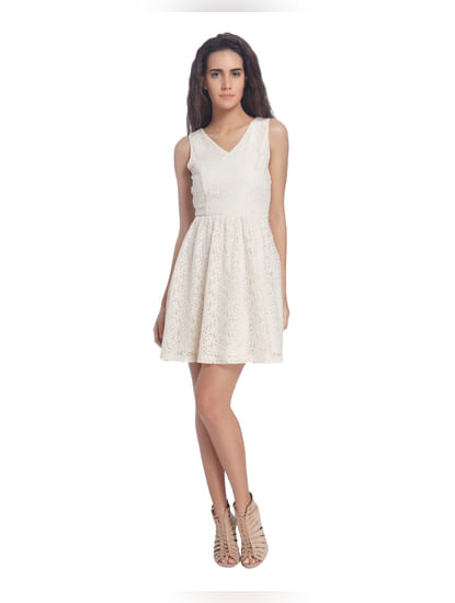 White Lace Skater Dresses