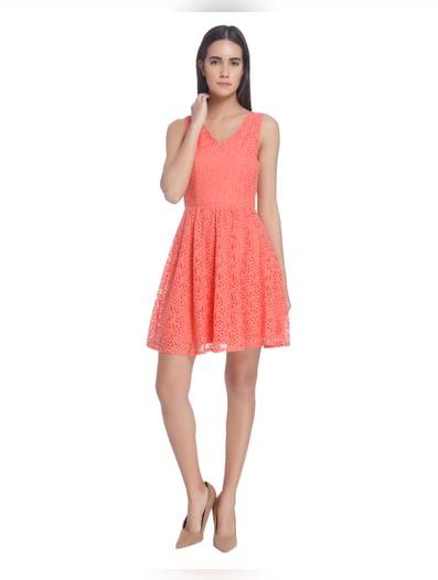 Rose Lace Skater Dresses